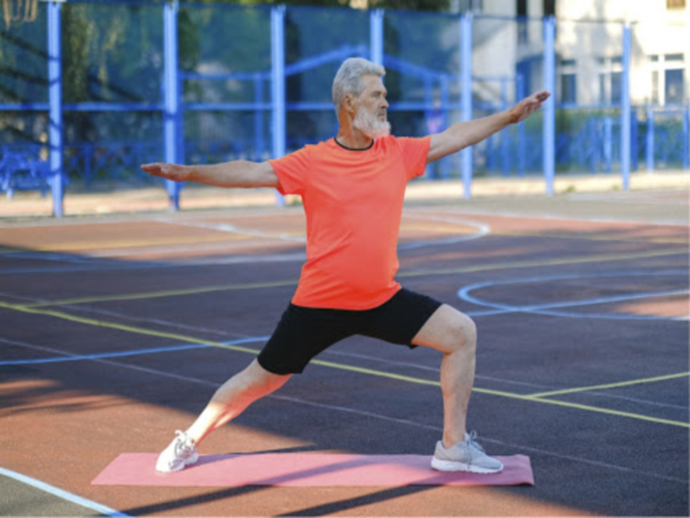 Older man doing yoga shows good health and healthy Calcium ATPase